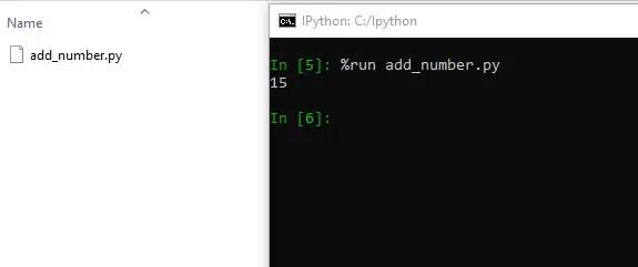 Run existing Python file using run magic command