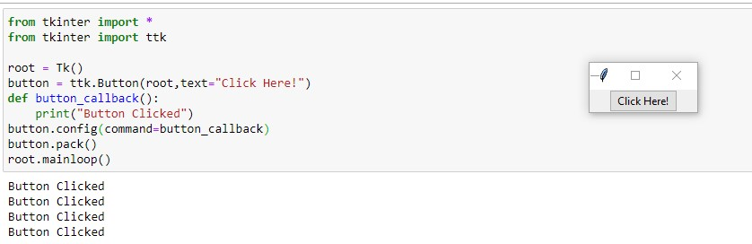 Adding callback function to the Tkinter button