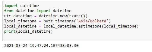 Convesion of utc to local time using as datetime module