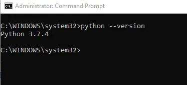 Checking the version of python on windows