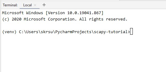 Pycharm Terminal for Scrapy Installation
