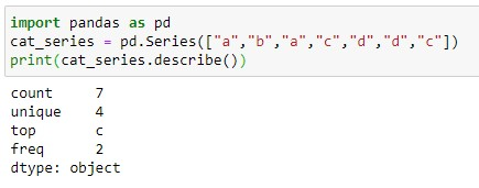 Applying Pandas Describe method on Categorical Series