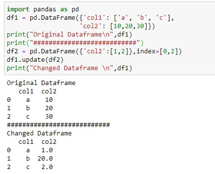 Update the column of the dataframe at specific location