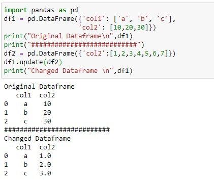 Update the column of the dataframe with different length