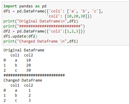 Update the entire column of the dataframe