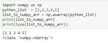 python list to numpy array