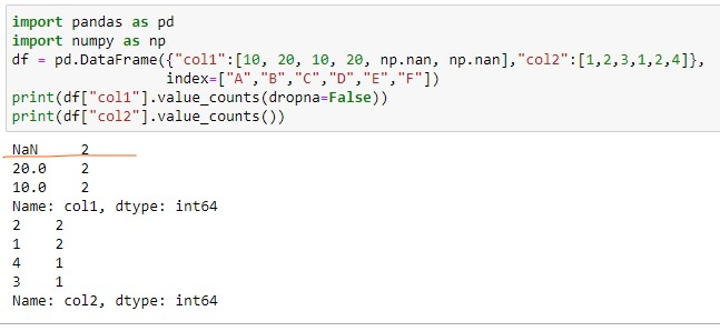 Using Value_counts on dataframe with NaN values