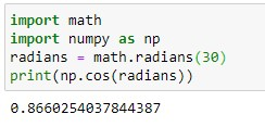 conversion of degrees to radians in python