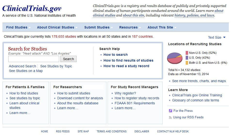 ClinicalTrials.gov front page