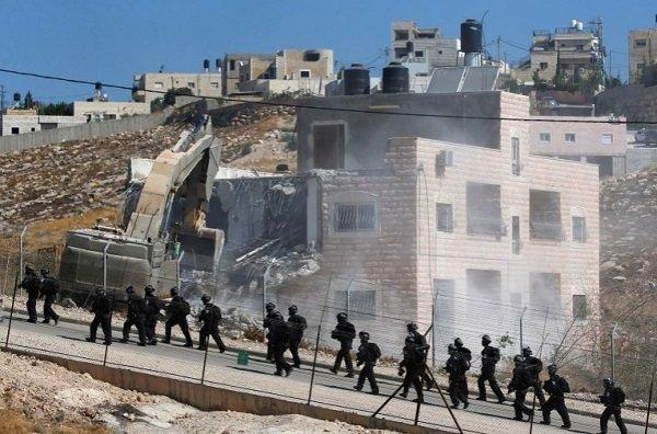 Israel forces patrol village of Sur Baher in Israeli-Occupied West Bank