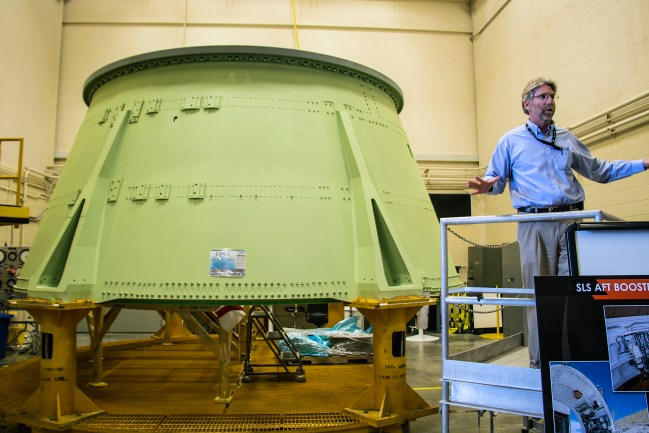 One of the SRB segments being prepared for the SLS.