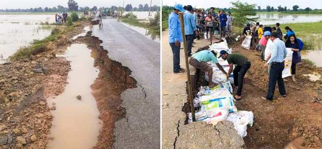 """""""If these youth hadn't started their project, we might have lost the whole road. If we help them continue their efforts, we could see a big difference for future floods,"""" said the leader of Okcheay village, Say Chhert."""