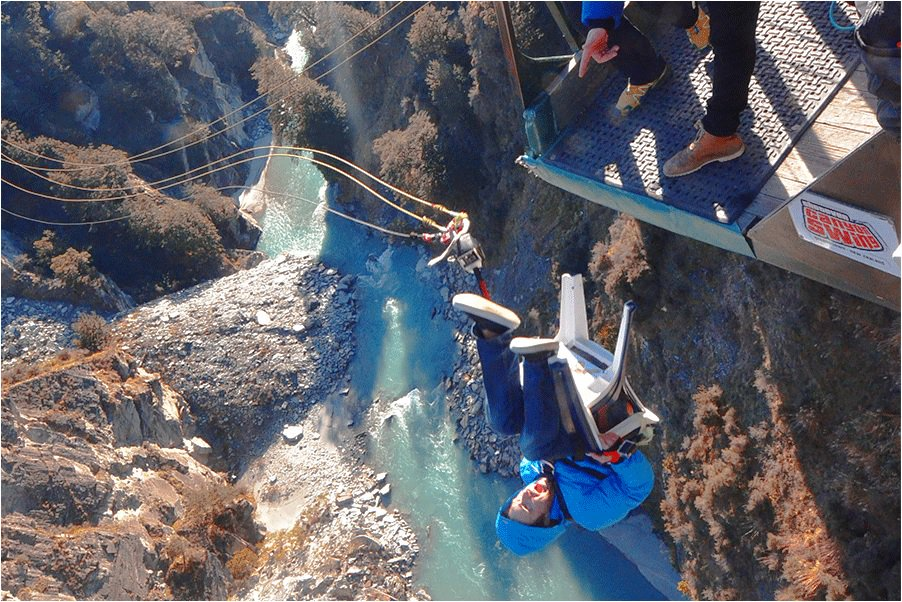 swing chair over canyon face down beach shotover fox queenstown sshotover the