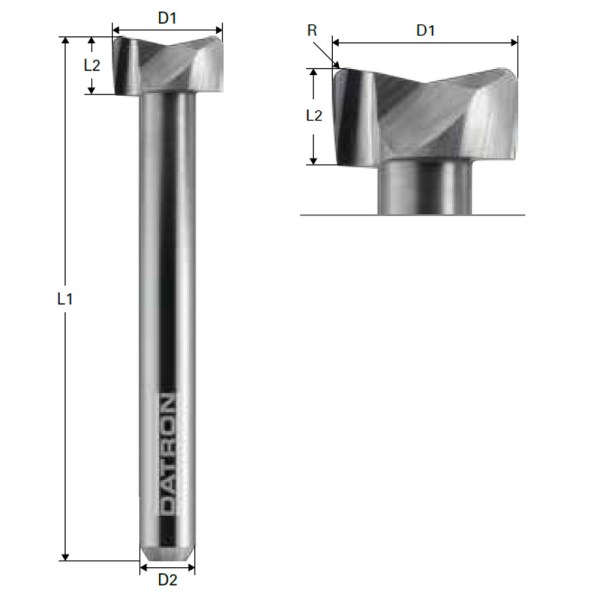 Polished Double Flute End Mill Tool Stepped With Edge Radius