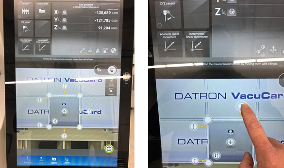 DATRON neo's probe field can be set and moved using a finger on the touchscreen.