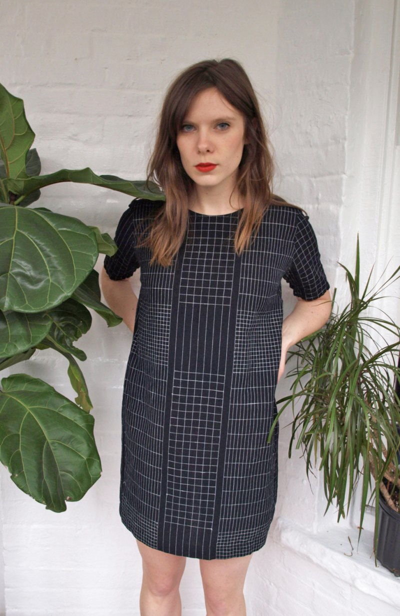Black and White Grid Shift Linen Dress, kertis, etsy shop, jessica kertis, shift dress, handmade dress