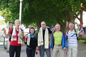 Start in Schierstein: Inge, Zivile, Michael, Uwe und Heinz