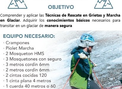Curso en Rescate en Grietas y Tránsito en Glaciar , 19 y 20 de Enero 2019