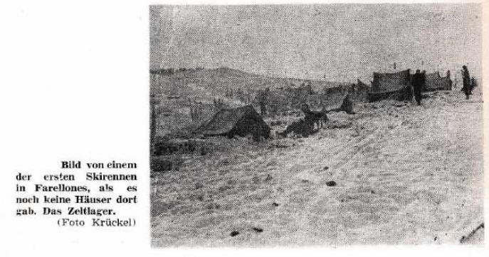 Imagen de una de las primeras carreras de ski en Farellones cuando todavía no había casas allá. (Foto de Krückel).