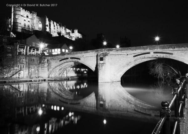 Durham Castle and Framwellgate Bridge Reflections at Night, England