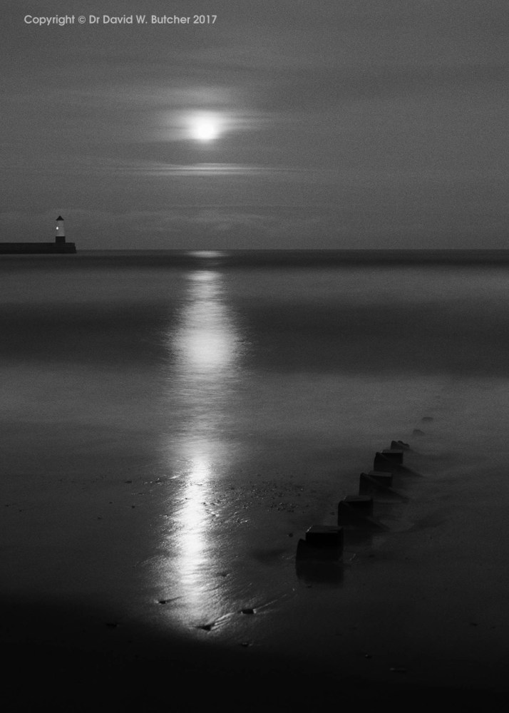 Berwick Upon Tweed Beach and Moon