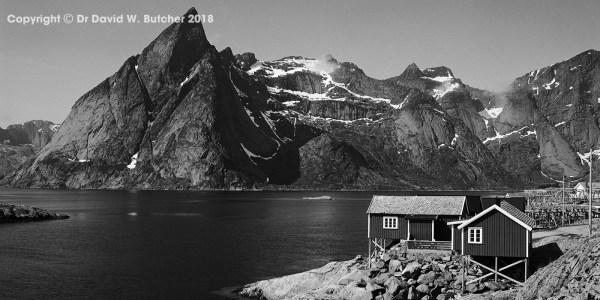 Lofoten Reine Hamnoy Fishing Hut and Mountains, Norway
