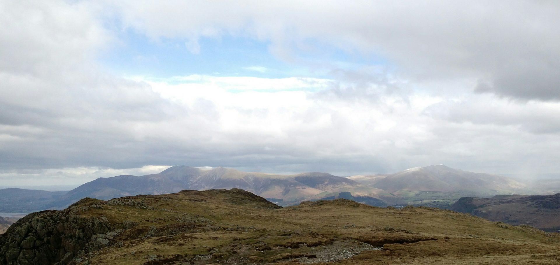 Skiddaw and Blencathra from Maiden Moor, near Rosthwaite