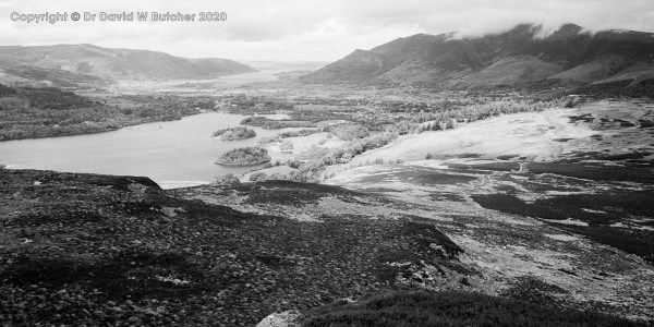 Keswick and Derwent Water from Falcon Crag, Lake District