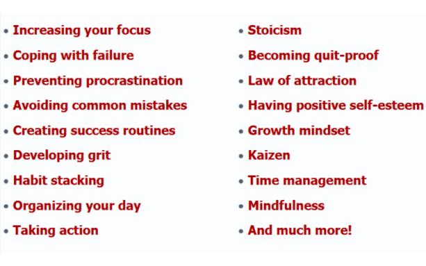 Success Mindset For Entrepreneurs - Topics Covered