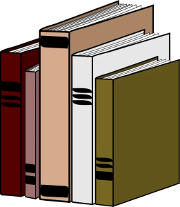 A drawing of books standing next to each other