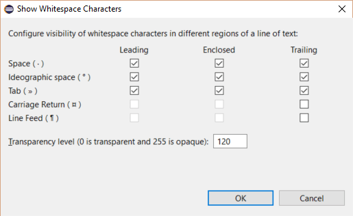 Eclipse White Space Characters