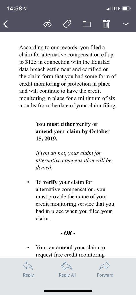 equifax settlement question