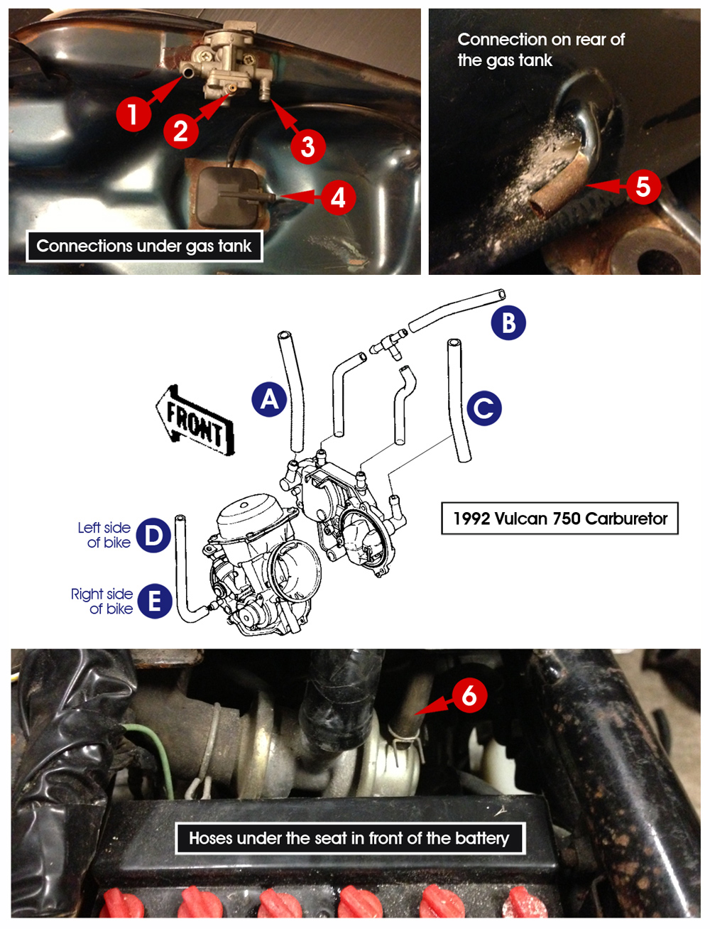 medium resolution of below is a image of the bottom of my fuel tank hose connections in front of the battery and the carburetor please help me connect the dots