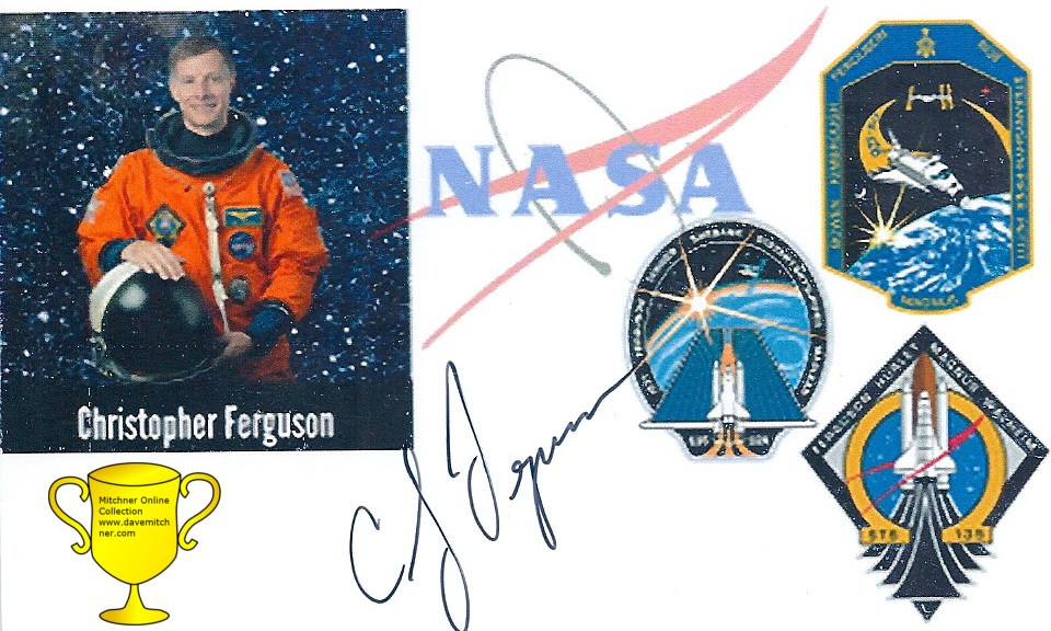 Commander Chris Ferguson signed Photocard. Received TTM October 27, 2016.
