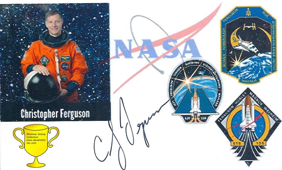 Commander Chris Ferguson signed Photocard. Received TTM October 27, 2016.