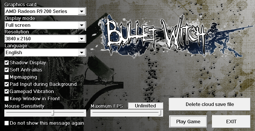 Bullet Witch PC Configuration