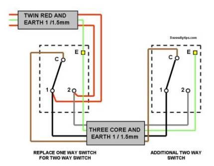 one way lighting circuit modified for two way switching dave s diy rh davesdiytips com 2-Way Switch Wiring House 2 way switch wiring diagram old colours