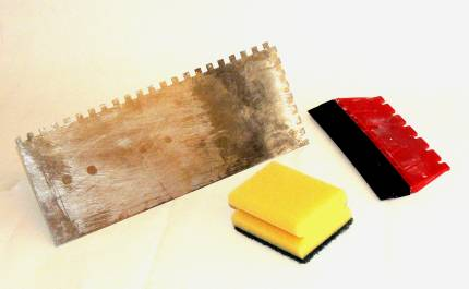 Trowel for large tiles, adhesive spreader(the Red one), for wall tiles and sponge