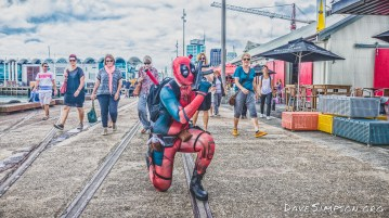 Deadpool walk around the Wynyard Quarter 24 March 2017