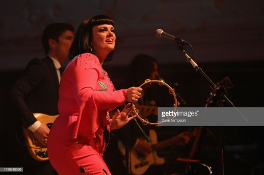 AUCKLAND, NEW ZEALAND - AUGUST 04: Mike Hall, Brett Adams and Tami Neilson perform as part of the Sassafrass! NZ Tour at Auckland Town Hall on August 4, 2018 in Auckland, New Zealand. (Photo by Dave Simpson/WireImage)