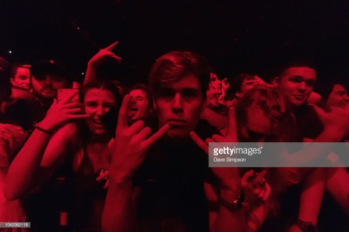 AUCKLAND, NEW ZEALAND - SEPTEMBER 28: Fans watch Skrillex perform during Listen In at Spark Arena on September 28, 2018 in Auckland, New Zealand. (Photo by Dave Simpson/WireImage)