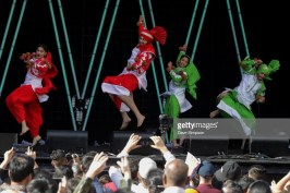 AUCKLAND, NEW ZEALAND - OCTOBER 20: Performers from international dance group the Kalehri Art & Culture Academy entertain the crowds during the 17th Auckland Diwali Festival on October 20, 2018 in Auckland, New Zealand. Auckland Diwali Festival is one of Auckland's biggest and most colourful cultural festival, celebrating traditional and contemporary Indian culture. (Photo by Dave Simpson/WireImage)