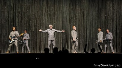 AUCKLAND, NEW ZEALAND - NOVEMBER 17: Bobby Wooten (bass guitar), David Byrne, Chris Giarmo (backing vocals), Simi Stone (backing vocals) and Karl Mansfield (keyboard), perform on stage as part of David Byrne's American Utopia World Tour at Spark Arena on November 17, 2018 in Auckland, New Zealand. (Photo by Dave Simpson/WireImage)