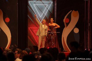 AUCKLAND, NEW ZEALAND - NOVEMBER 15: Stan Walker and Kanoa Lloyd host the 2018 Vodafone New Zealand Music Awards at Spark Arena on November 15, 2018 in Auckland, New Zealand. (Photo by Dave Simpson/WireImage)