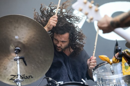 AUCKLAND, NEW ZEALAND - JANUARY 28: Donnie Borzestowski of Gang Of Youths performs on stage at St Jerome's Laneway Festival on January 28, 2019 in Auckland, New Zealand. (Photo by Dave Simpson/WireImage)