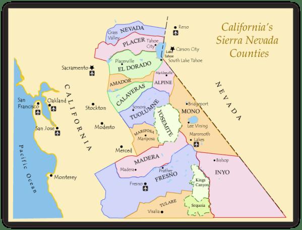 Fishing Map of California39s Sierra Nevada