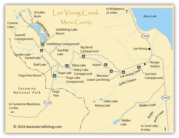 Lee Vining Fishing Map Eastern Sierra Maps