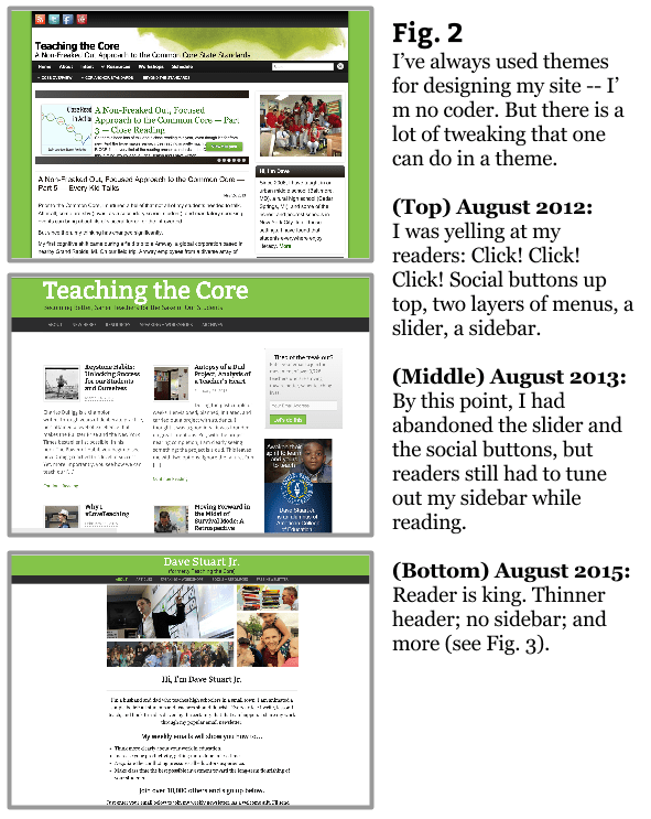 Figure 2 - Blog Design Teaching the Core versions
