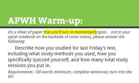 Figure 1: A Writing Prompt for Increasing Self-Regulation.