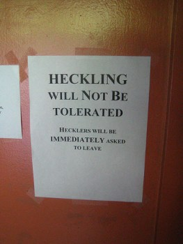 Participant instructions at a comedy club.